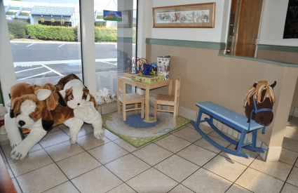 """Kiddie Corner in the waiting area. We cater to all your """"children"""" whether 2 or 4 legged!"""